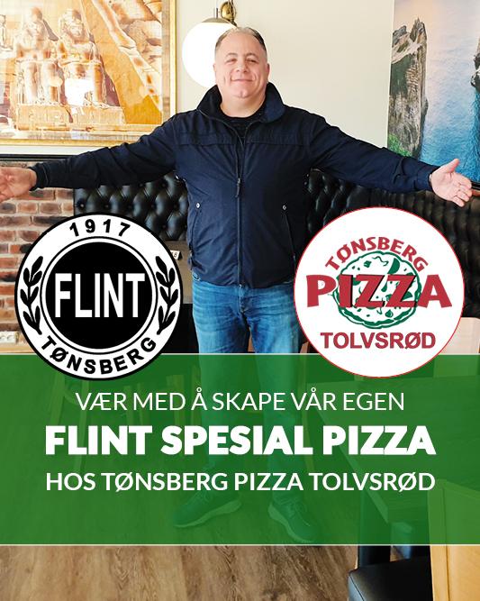 Mostapha ønsker Flints Corner og Flints spesial Pizza (2019) på Tønsberg Pizza