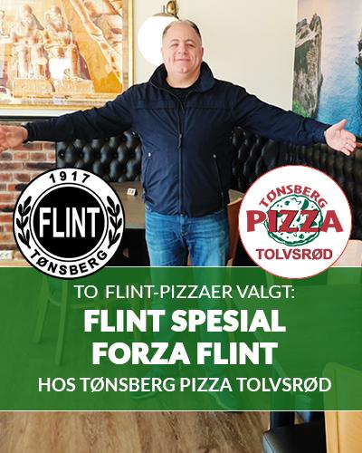 Mostapha ønsker velkommen til Flints Corner og pizza-variantene Flint Spesial (2019) og Forza Flint (2019) på Tønsberg Pizza, avd Tolvsrød og Furustrand Camping