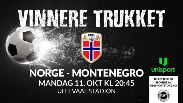 Vinnere trukket   Billetter til Norge-Montenegro